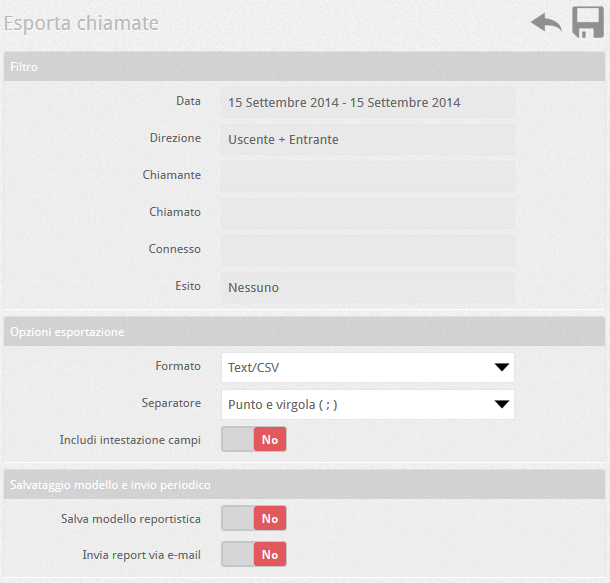 6.5 PBX esporta chiamate