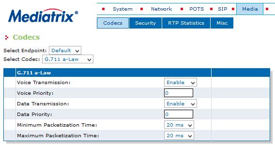 Enterprise Media Codecs G711