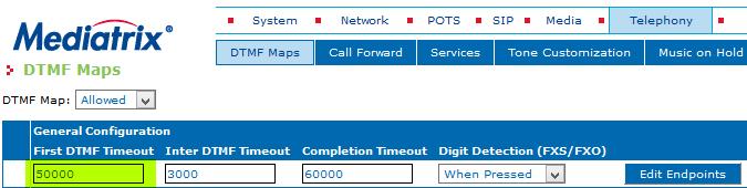 MDX 4124 Telephony DTMF Maps