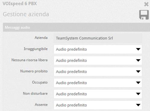 Impostazioni messaggi Audio