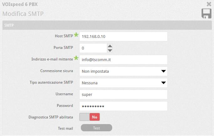 Modifica SMTP