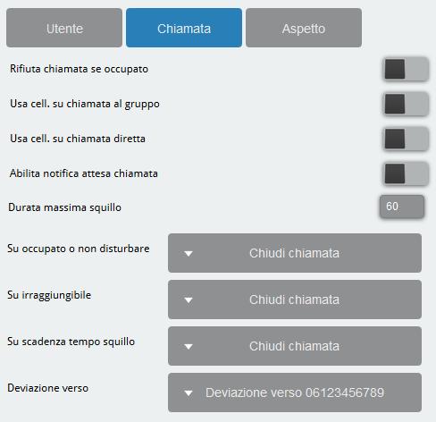 6.5 GUIHTML impostazioni chiamata