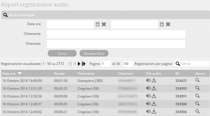 6.5 PBX report registrazioni audio
