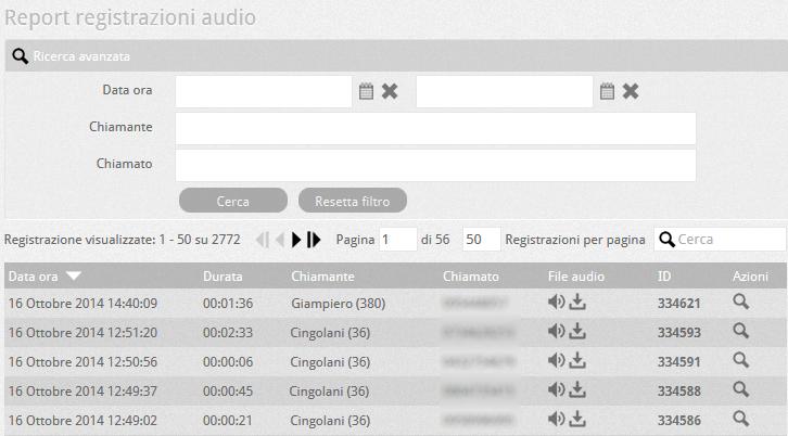 6.5 PBX report registrazioni audio