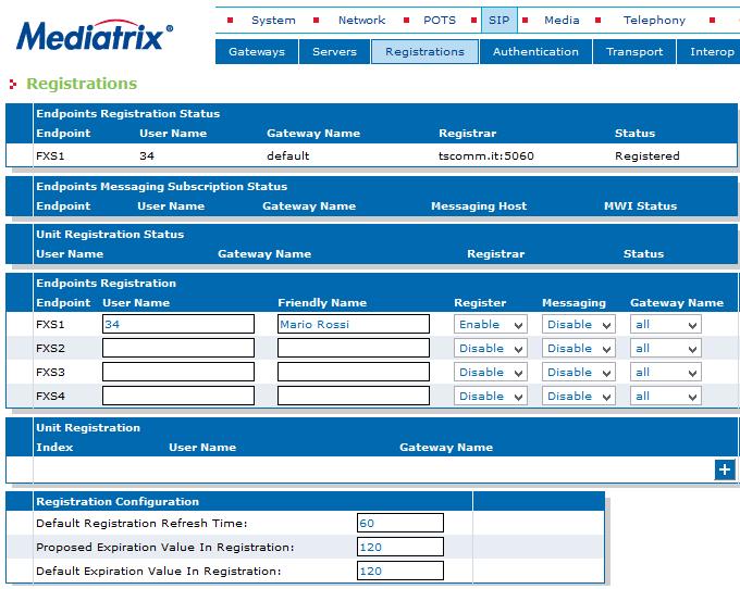 Enterprise SIP Registrations